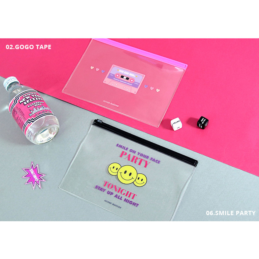 GoGo tape, Smile Party - Second Mansion Retro mood clear PVC zip slide pouch