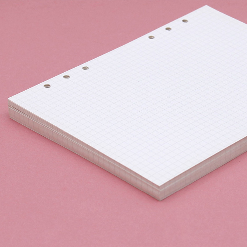 160 pages(80 sheets) - Second Mansion Grid 6-ring A5 size planner notebook refill
