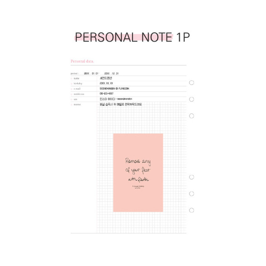 Personal data - Second Mansion Moment A6 6-ring dateless weekly diary planner
