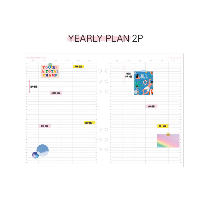 Yearly plan - Second Mansion Moment A6 6-ring dateless weekly diary planner
