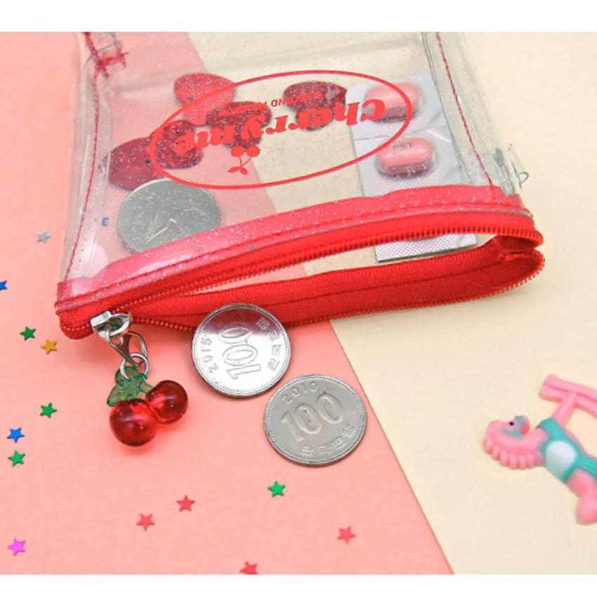 Red - Second Mansion Cherry me twinkle PVC zip coin wallet pouch