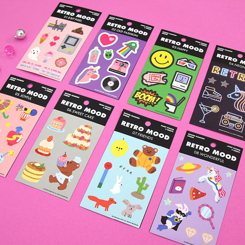 Second Mansion Retro mood deco sticker sheets set