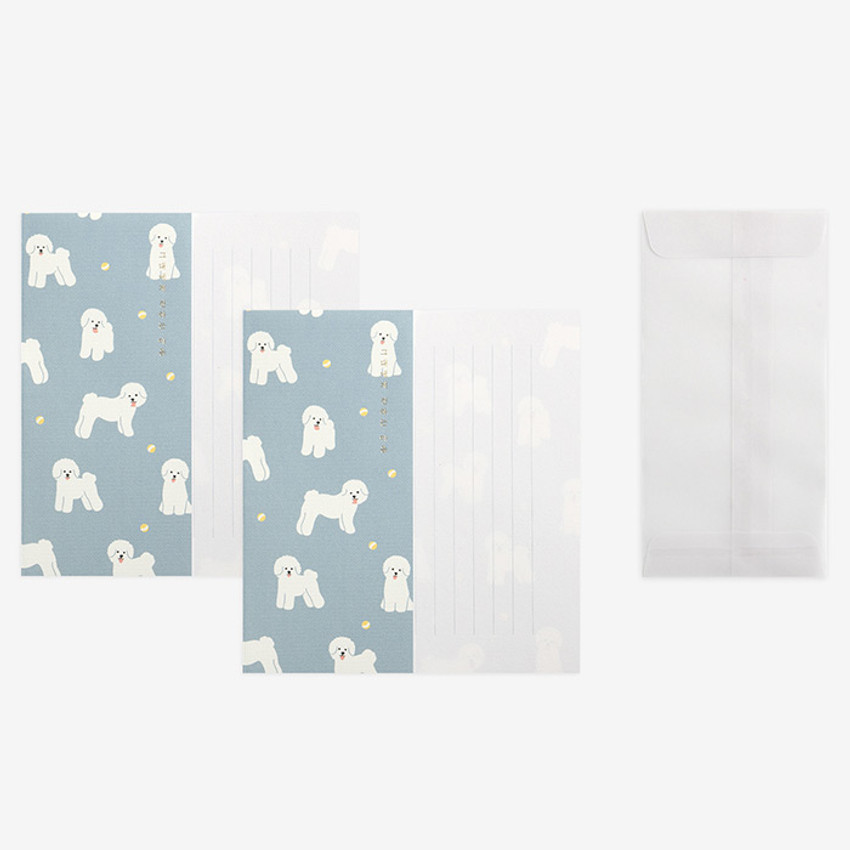 Set of 1 envelope and 2 letter papers - Dailylike Mind pattern letter with envelope set - Bichon Frise