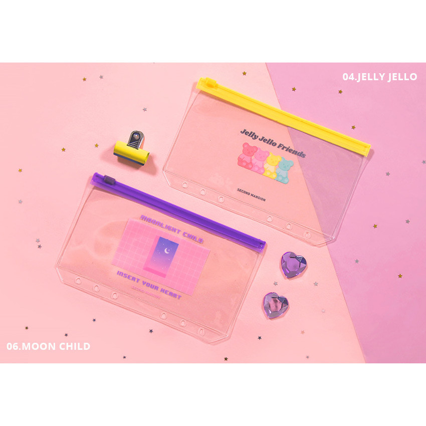 Jelly jello, Moon child - Second Mansion Retro mood 6-ring A6 zip lock pouch bag