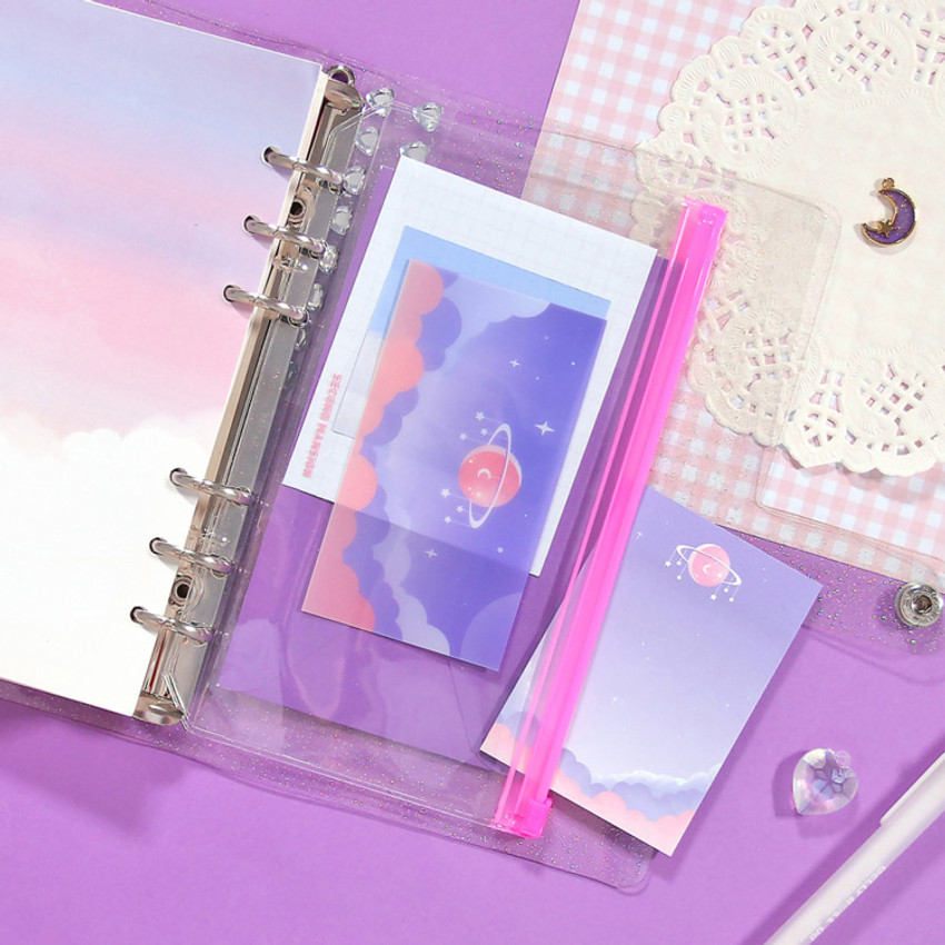 Star space violet - Second Mansion Retro mood 6-ring A6 zip lock pouch bag