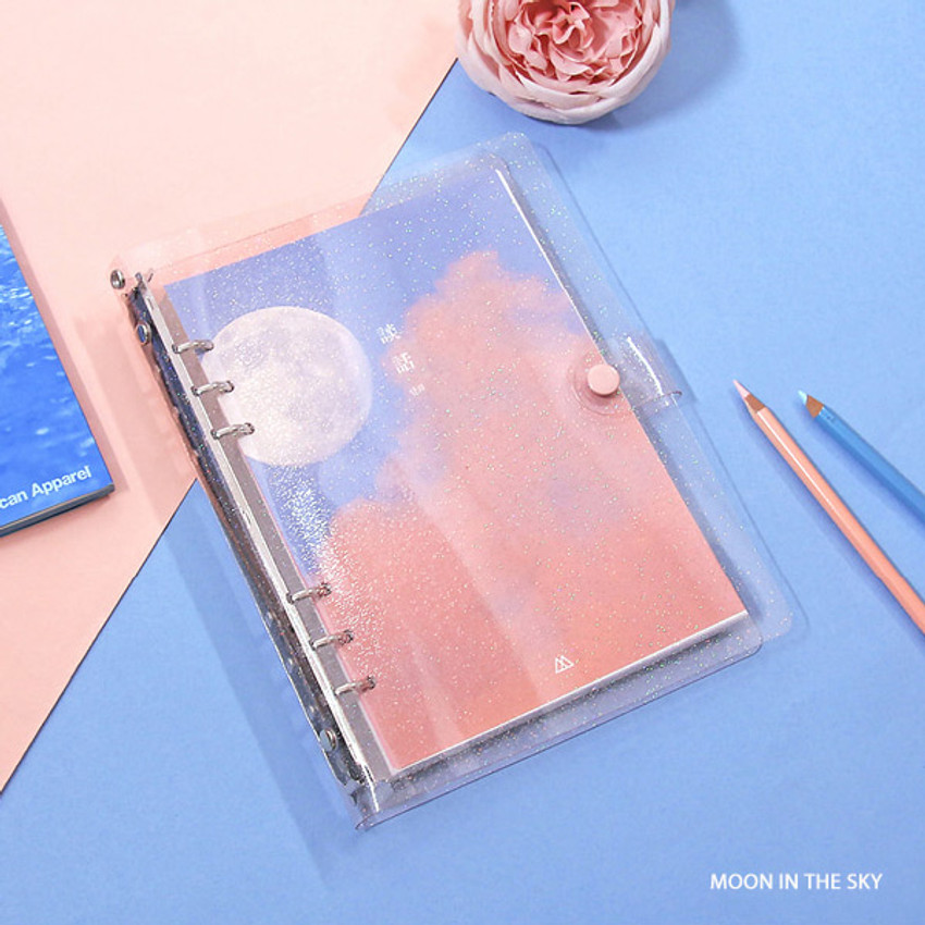 Moon in the sky - Second Mansion Damwha 6-ring A5 size grid notebook