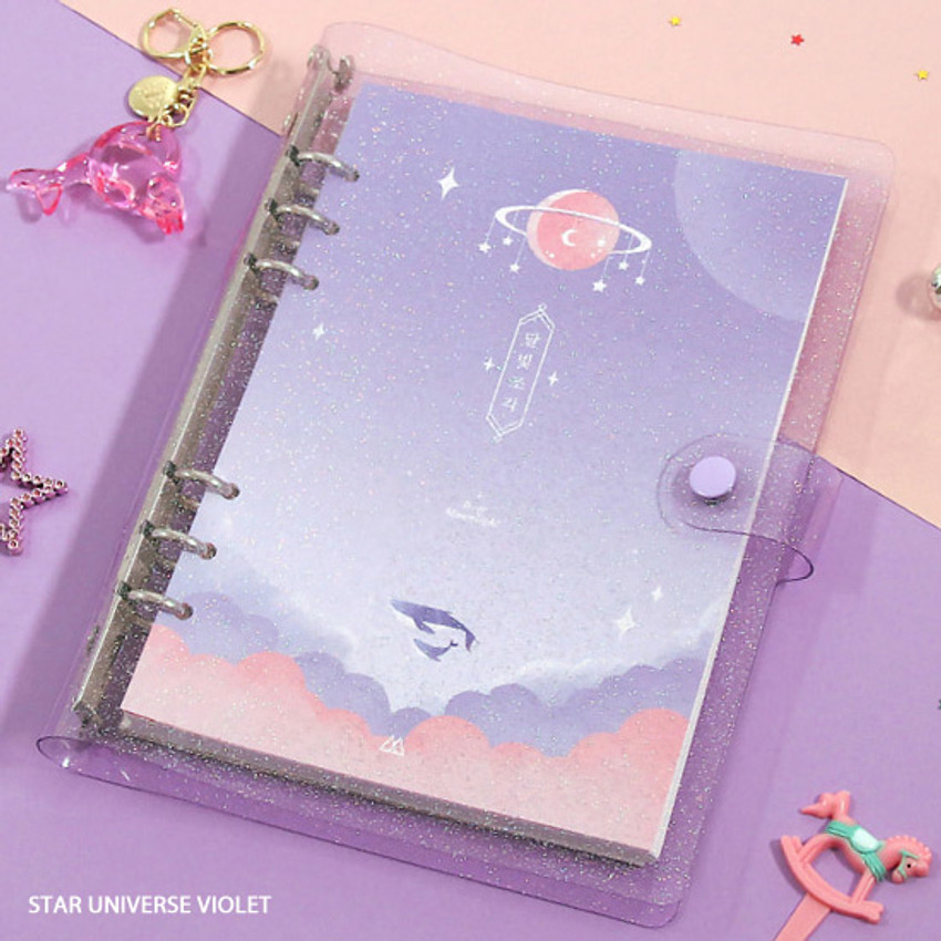 Star universe violet - Twinkle moonlight A5 6-ring dateless weekly diary planner