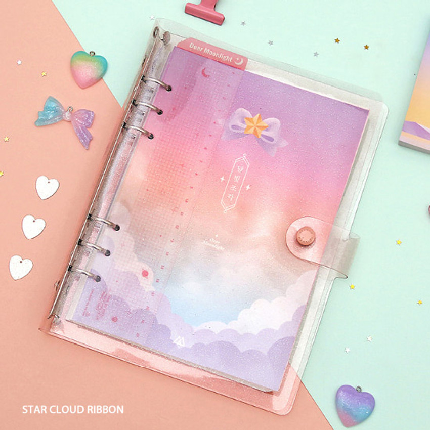 Pink ribbon - Twinkle moonlight A5 6-ring dateless weekly diary planner