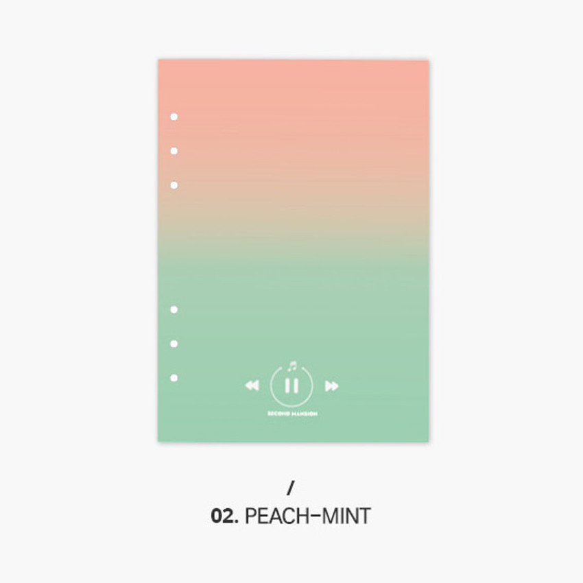 Peach-mint - Second Mansion Gradation 6-ring A5 size planner blank notebook refill