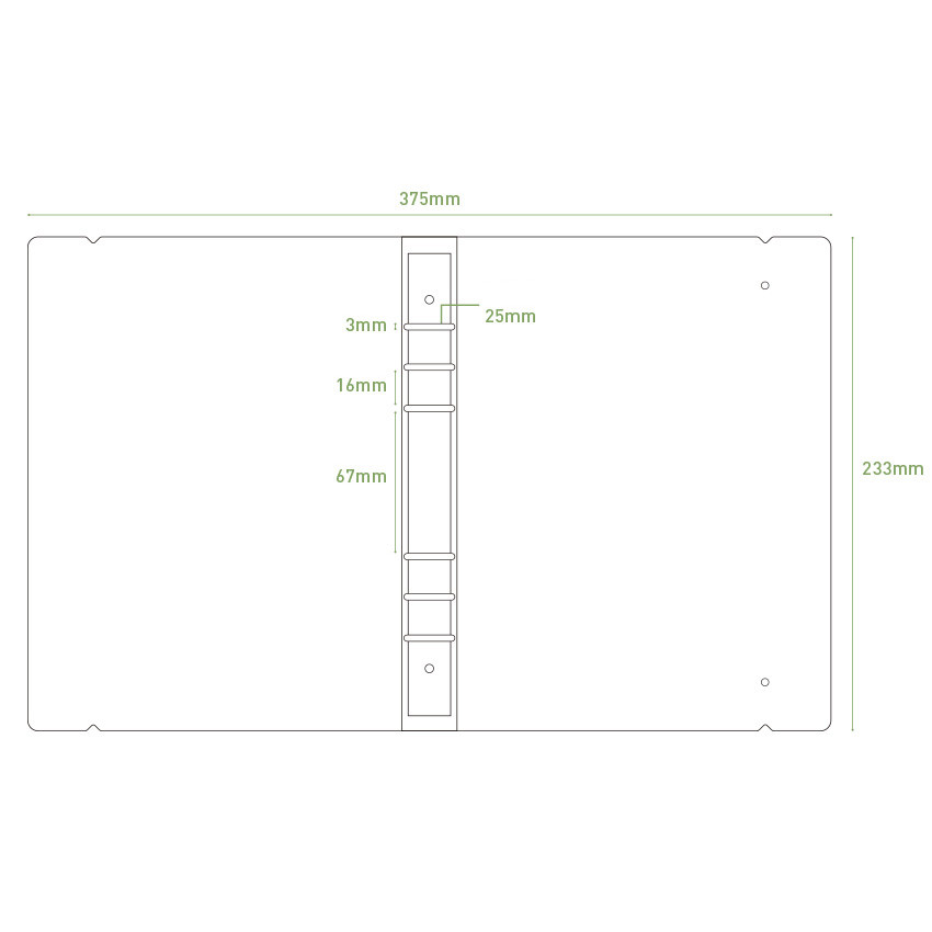 Size - PAPERIAN Book cloth A5 size 6 ring binder with elastic band