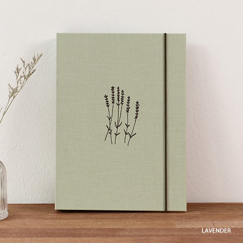 Lavender - PAPERIAN Book cloth A5 size 6 ring binder with elastic band