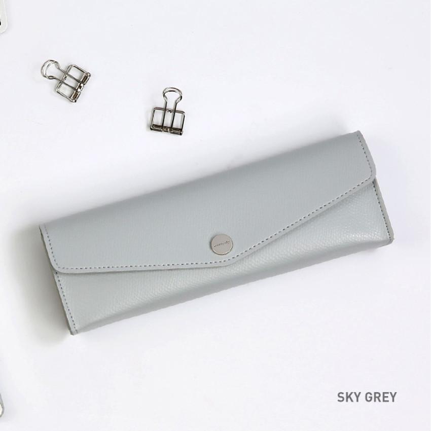 Sky Gray - Monopoly Classy snap button pocket pencil case pouch