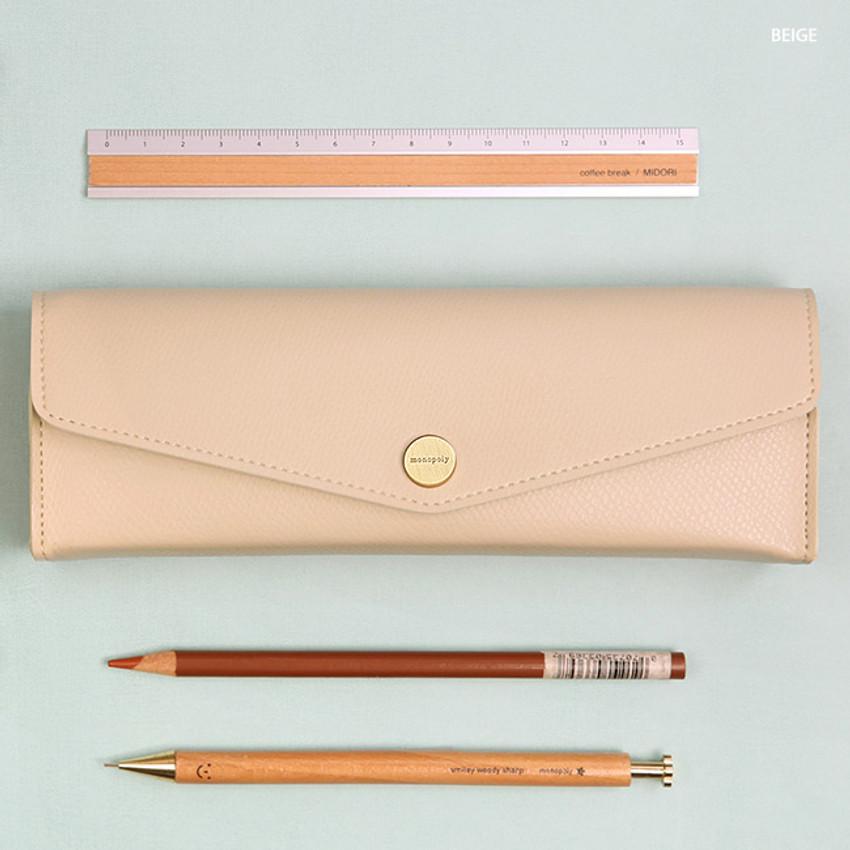 Beige - Monopoly Classy snap button pocket pencil case pouch