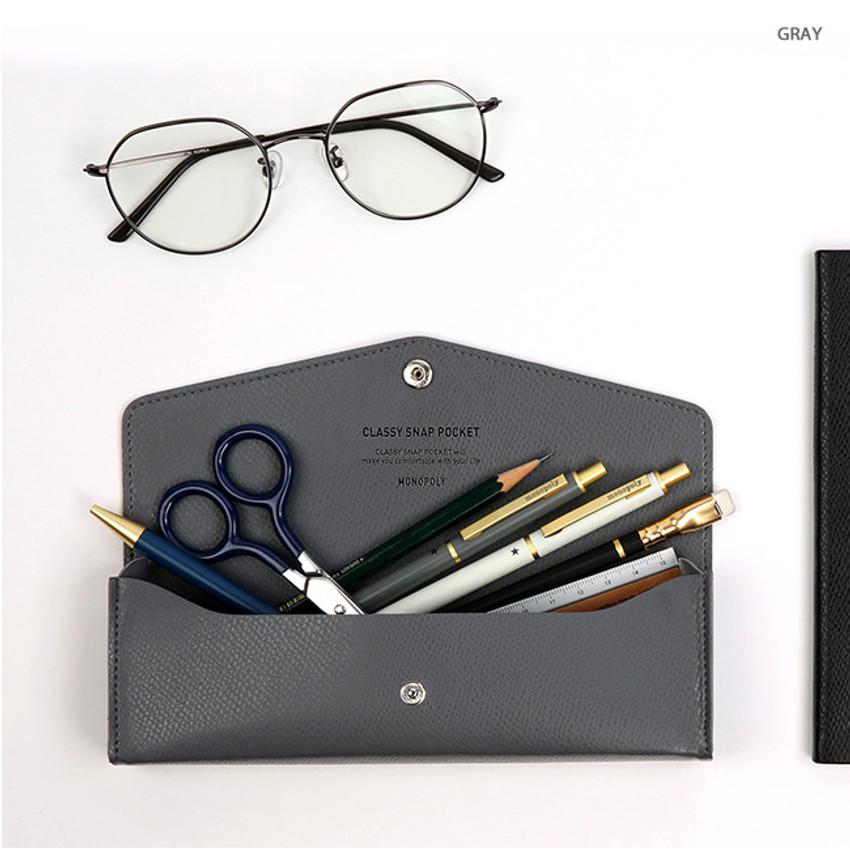 Gray - Monopoly Classy snap button pocket pencil case pouch