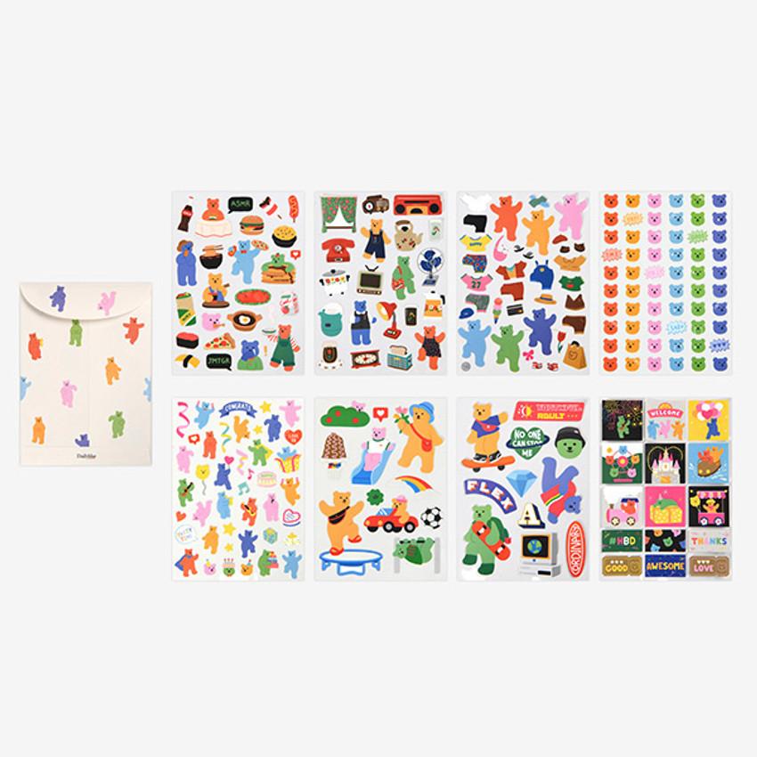 Dailylike Jelly bear removable deco sticker set of 8 sheets