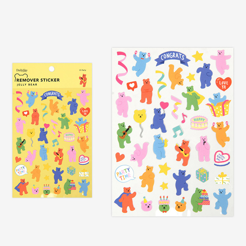 Party - Dailylike Jelly bear removable deco sticker set of 8 sheets
