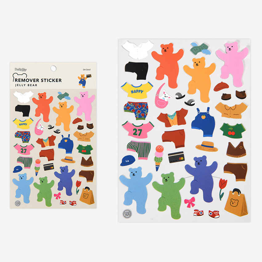 Ootd - Dailylike Jelly bear removable deco sticker set of 8 sheets