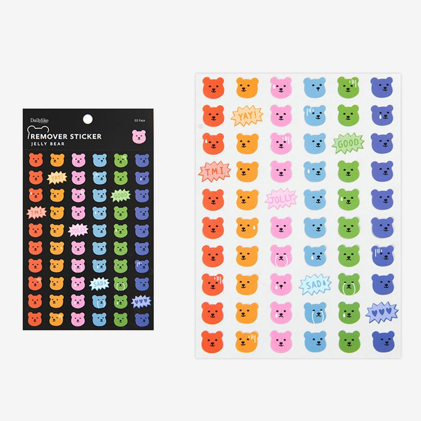 Face - Dailylike Jelly bear removable deco sticker set of 8 sheets