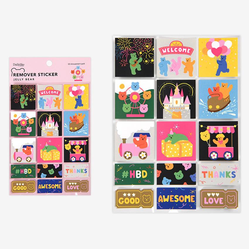 Amusement park - Dailylike Jelly bear removable deco sticker set of 8 sheets