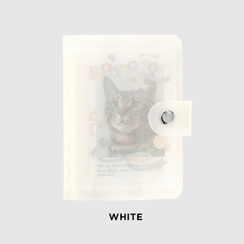 White - 2NUL Glitter Instax mini slip in pocket small photo album