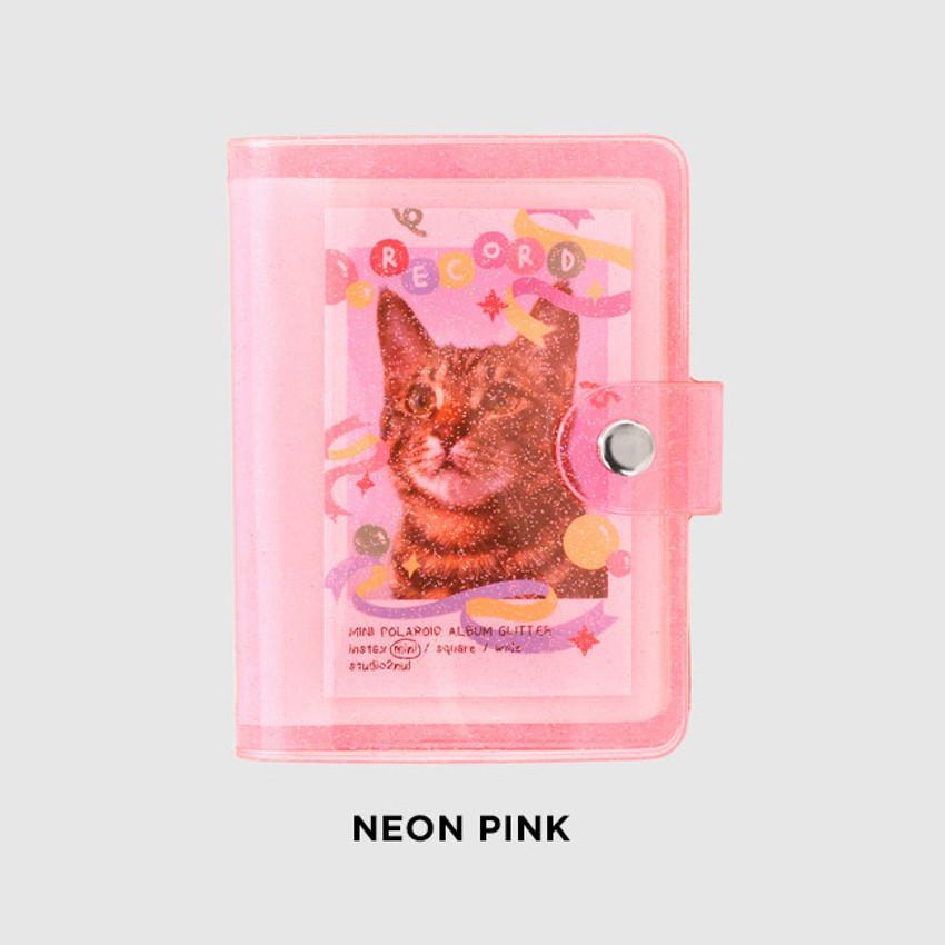 Neon pink - 2NUL Glitter Instax mini slip in pocket small photo album
