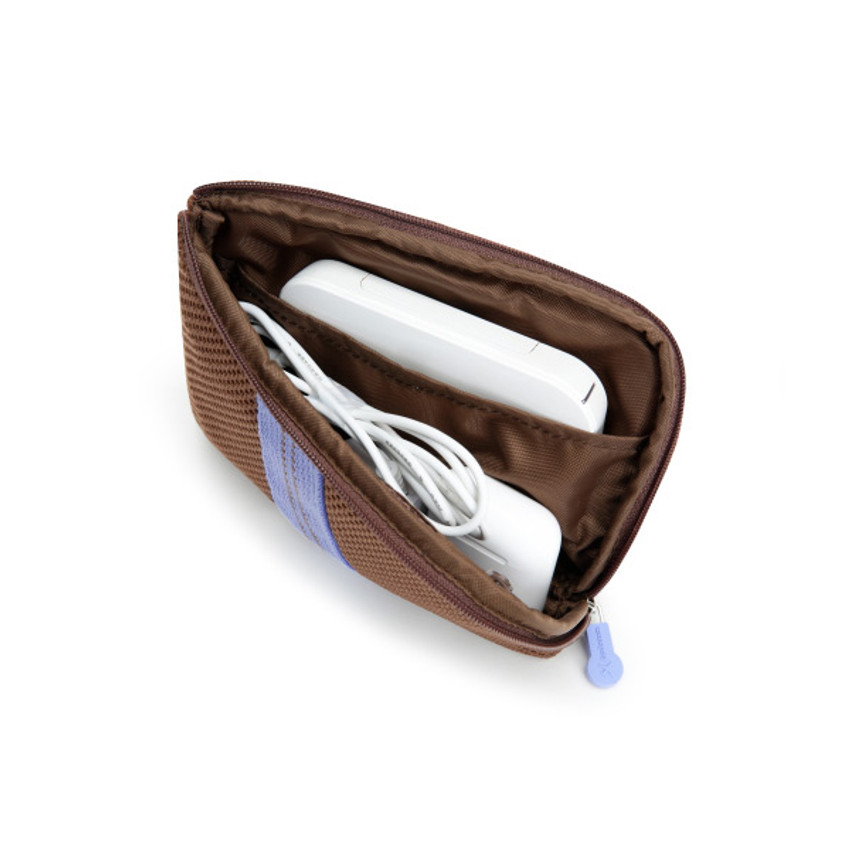 Milky Brown - Monopoly Air mesh small cable half zipper case pouch