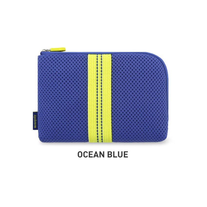 Ocean blue - Monopoly Air mesh small cable half zipper case pouch