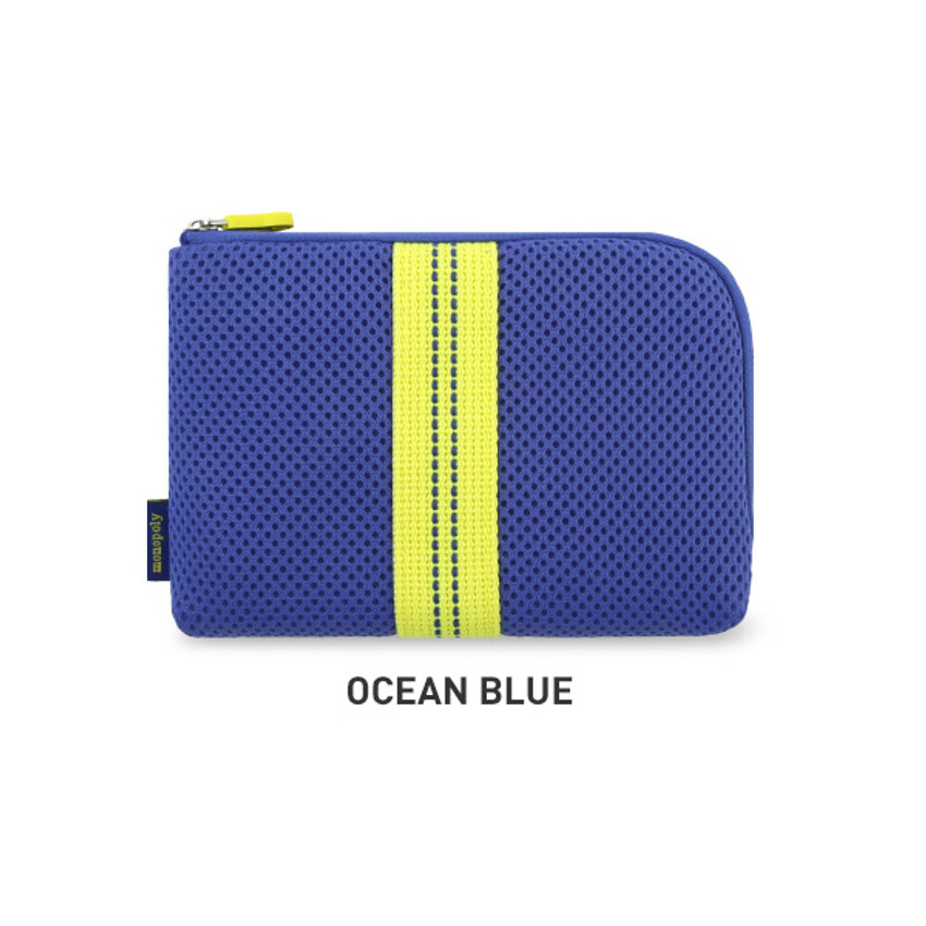 Ocean blue - Monopoly Air mesh small cable half zipper case pouch