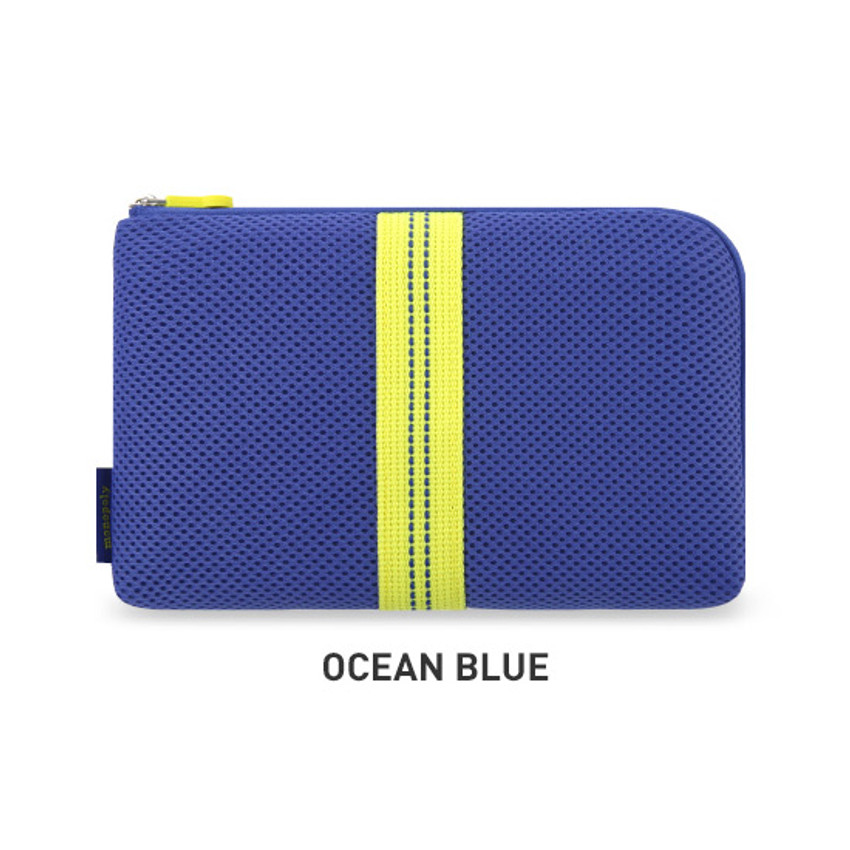 Ocean Blue - Monopoly Air mesh large cable half zipper case pouch