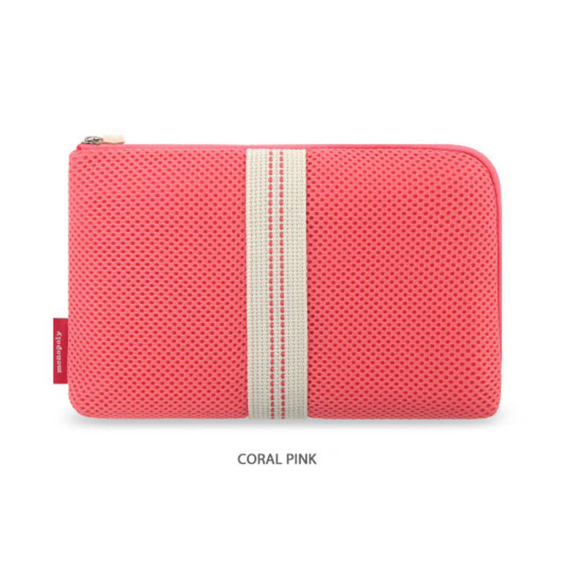 Coral Pink - Monopoly Air mesh large cable half zipper case pouch