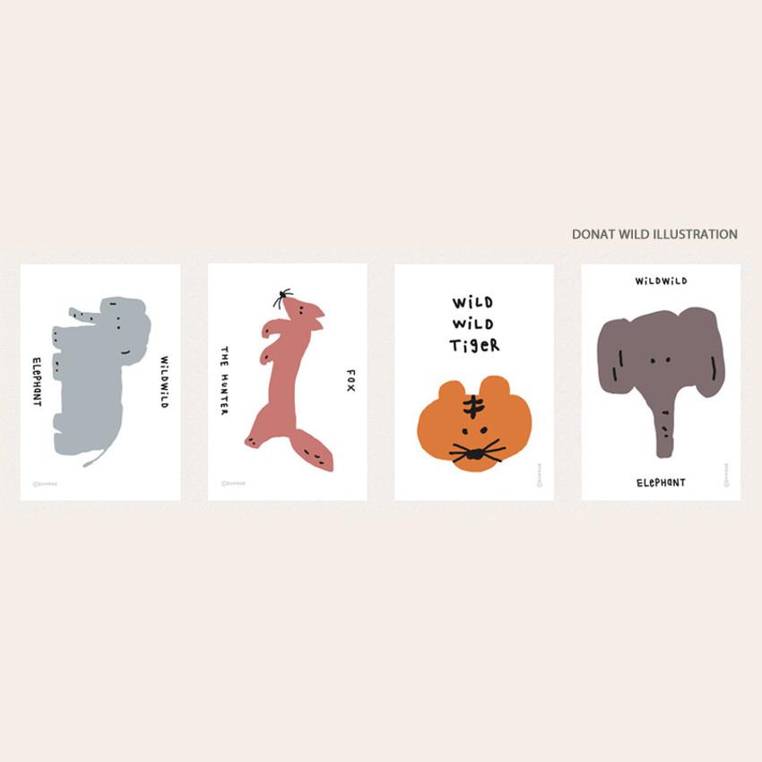 donat wild illustration - ROMANE Donat brunch brother postcard 4 sheets set
