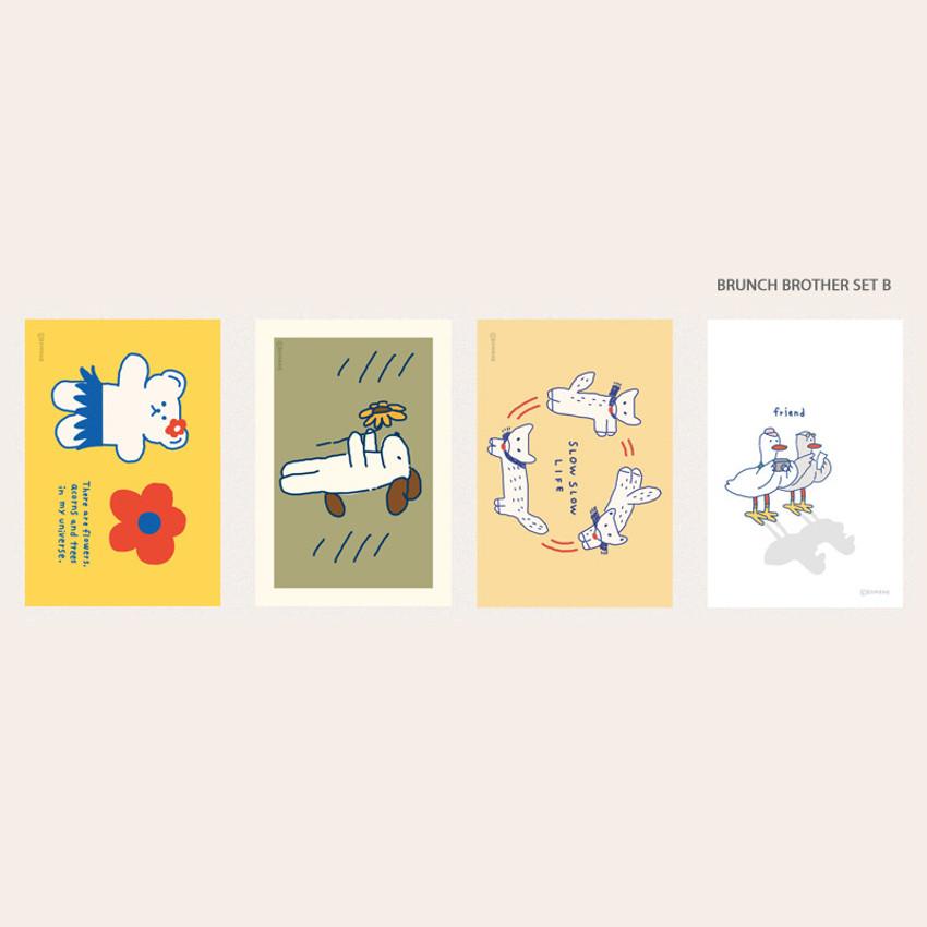 Brunch brother set B - ROMANE Donat brunch brother postcard 4 sheets set