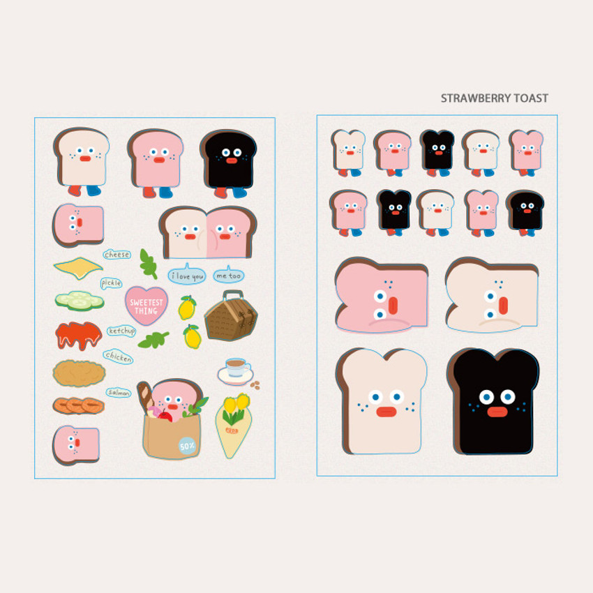 Strawberry toast - ROMANE Brunch brother PVC deco sticker 2 sheets set