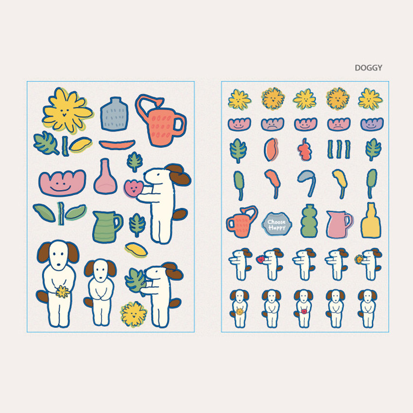 Doggy - ROMANE Brunch brother PVC deco sticker 2 sheets set