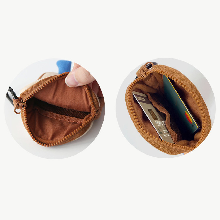 Inner pocket - ROMANE Brunch brother compact zipper pouch with key clip