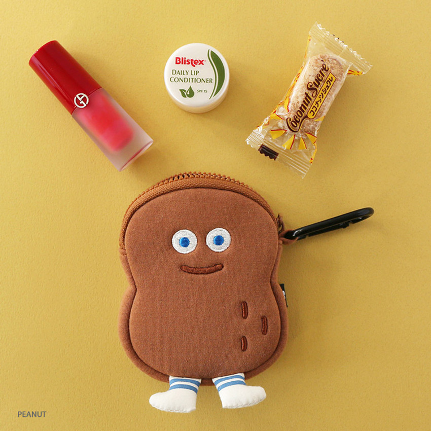 Peanut - ROMANE Brunch brother compact zipper pouch with key clip