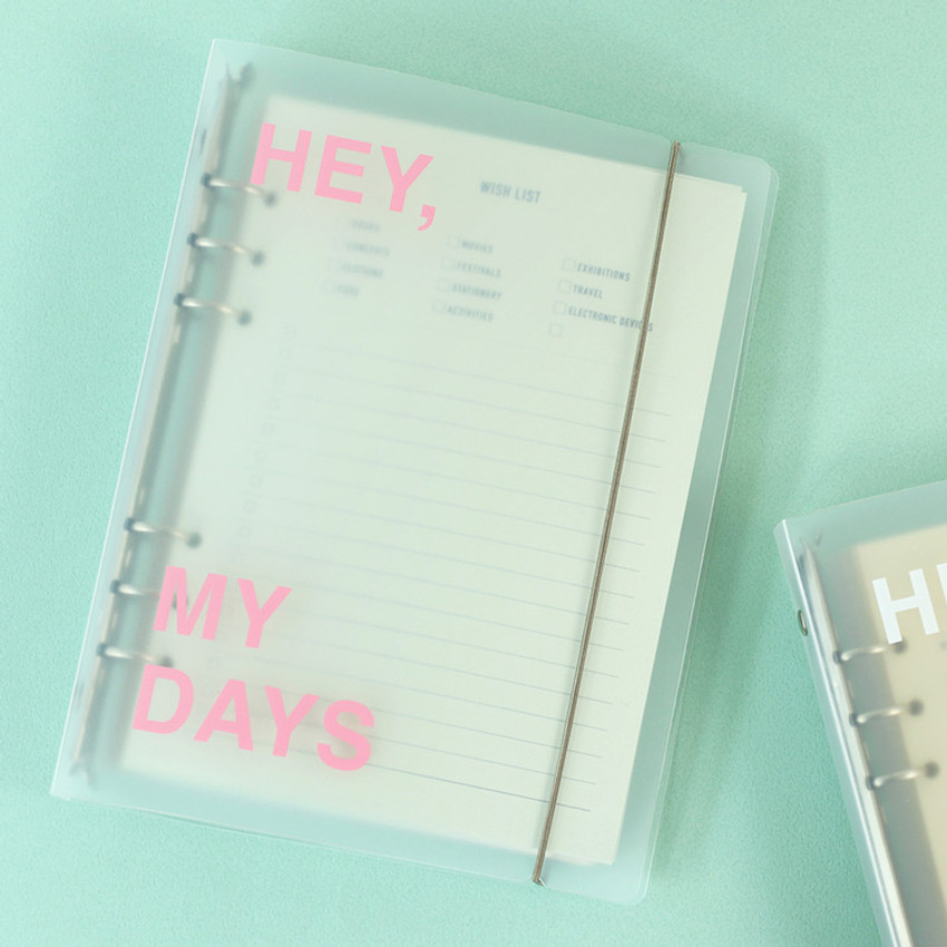 Pink - PAPERIAN Hey my days A5 size 6 ring translucent binder