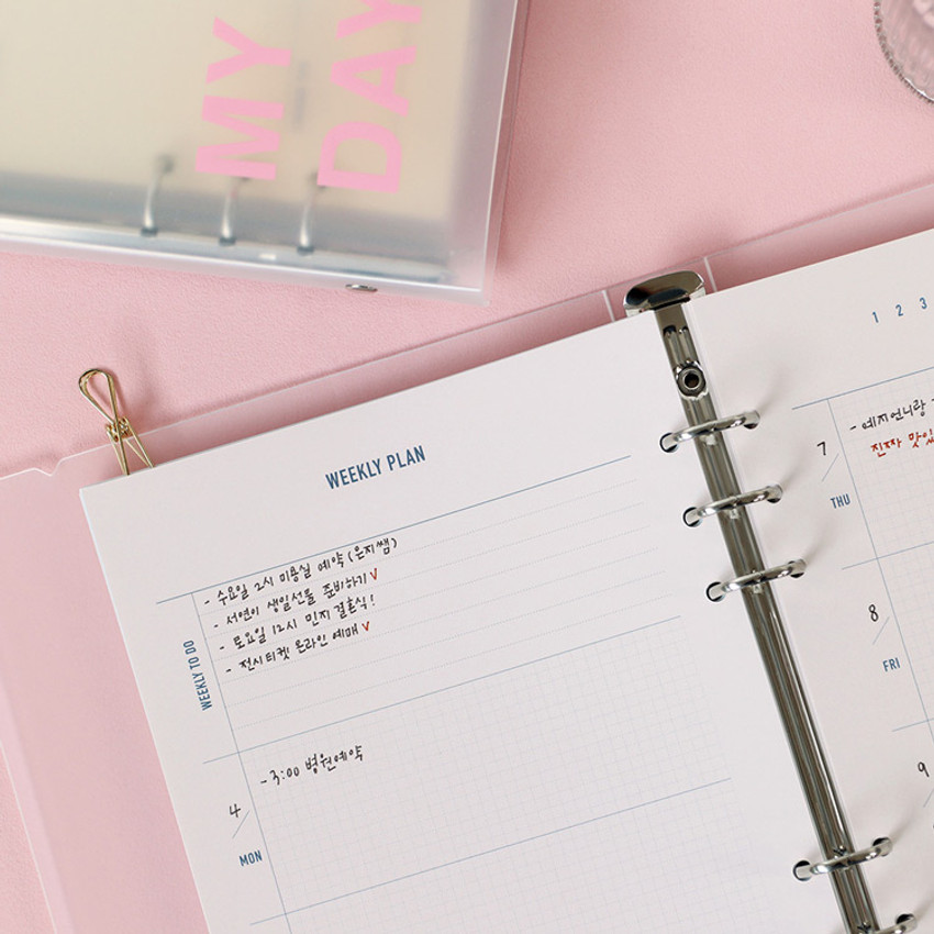 Usage example - PAPERIAN Hey my days A5 size 6 ring translucent binder