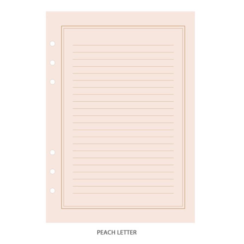 Peach letter - PAPERIAN Lifepad 6-ring A5 size notebook refillript Paper