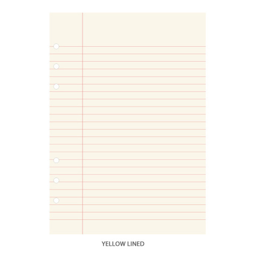Yellow lined - Pink grid - PAPERIAN Lifepad 6-ring A5 size notebook refill