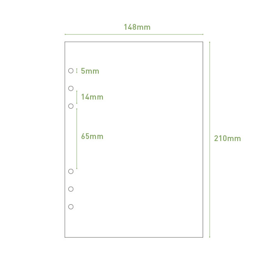 Size - PAPERIAN Paper board 6-ring A5 size blank notebook refill