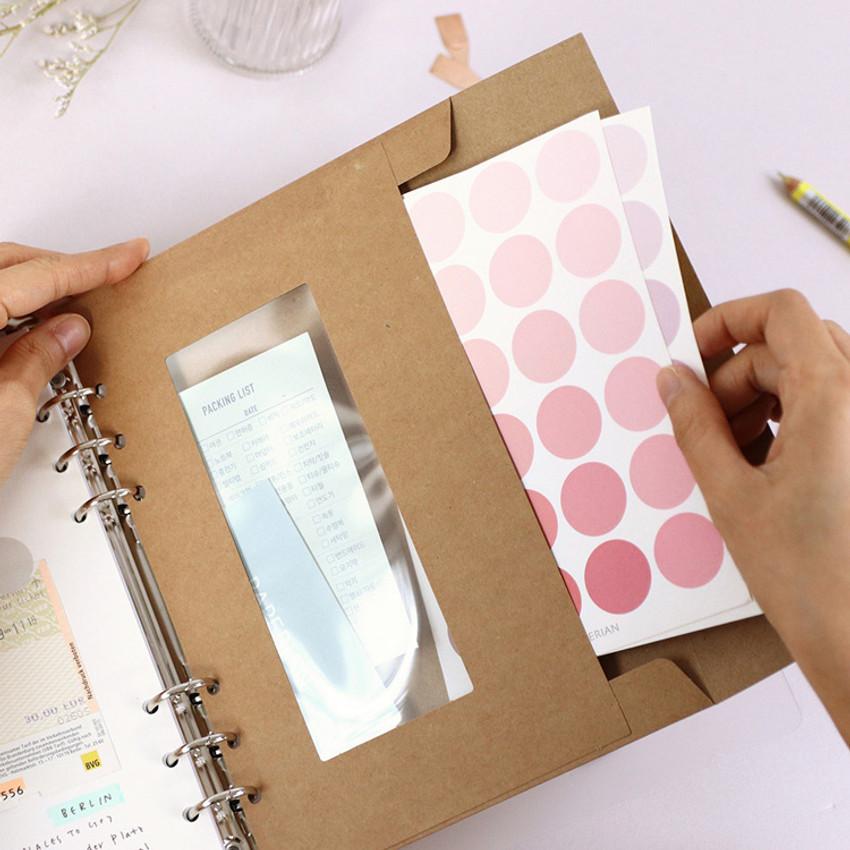 Kraft - PAPERIAN Window paper envelope 6-ring A5 size refill