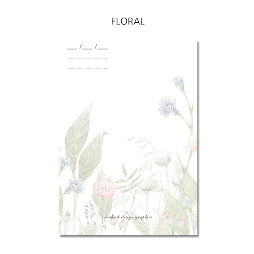 Floral - O-CHECK 365 daily single hole punched memo notepad