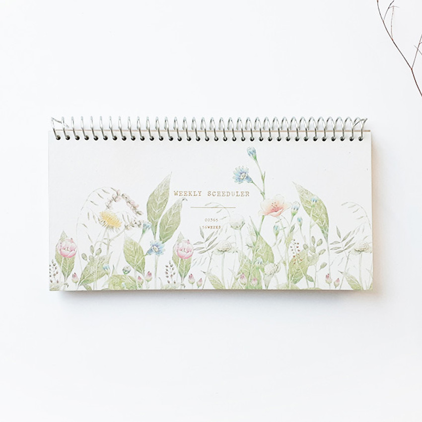 O-CHECK Floral dateless weekly desk spiral planner scheduler