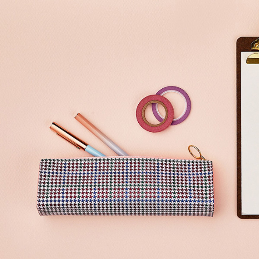 Check houndstooth - Antenna Shop Triangle synthetic leather zipper pencil case