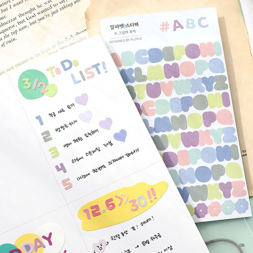 08 - PLEPLE Alphabet gradation paper deco sticker sheet