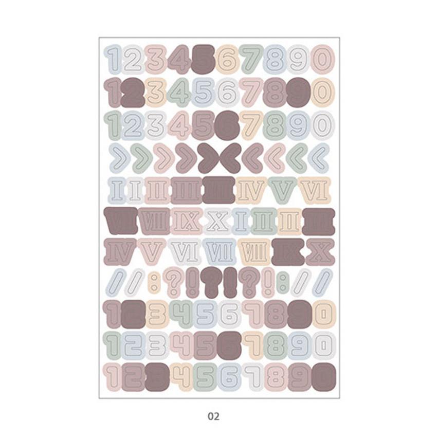02 - PLEPLE Number gradation paper deco sticker sheet