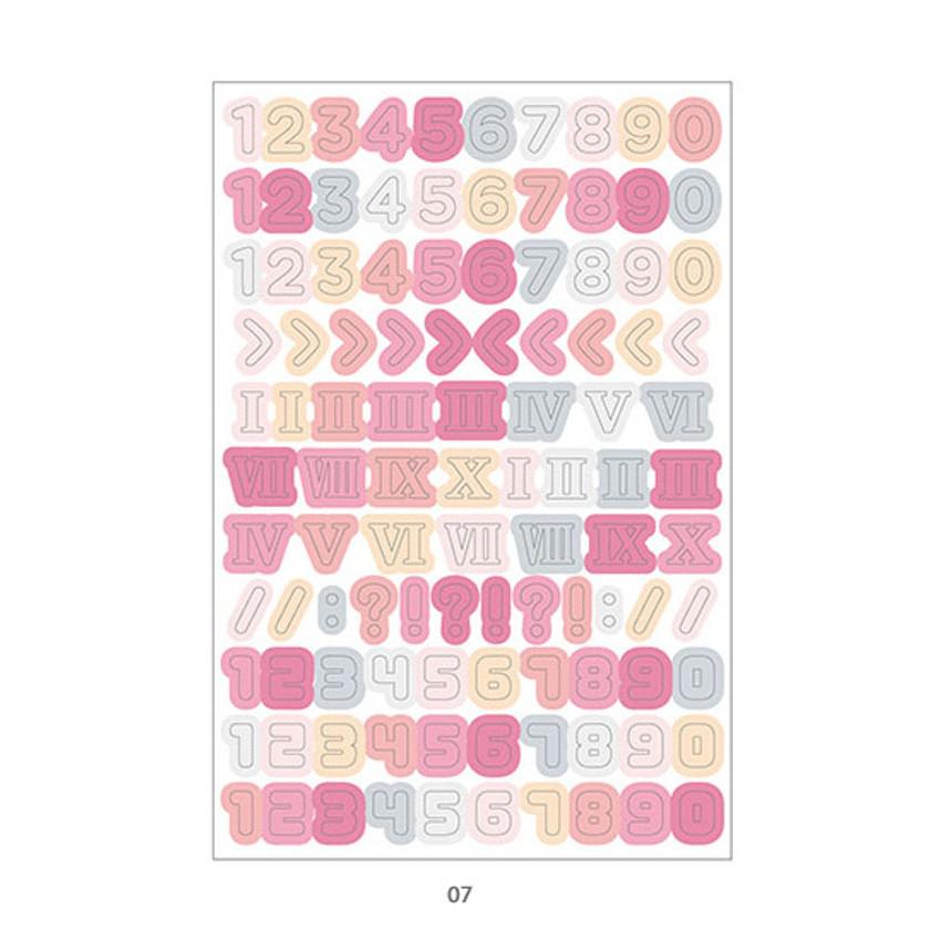 07 - PLEPLE Number gradation paper deco sticker sheet