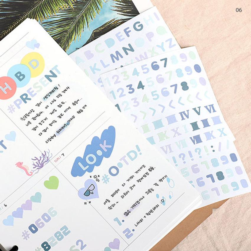 06 -  PLEPLE Number gradation paper deco sticker sheet