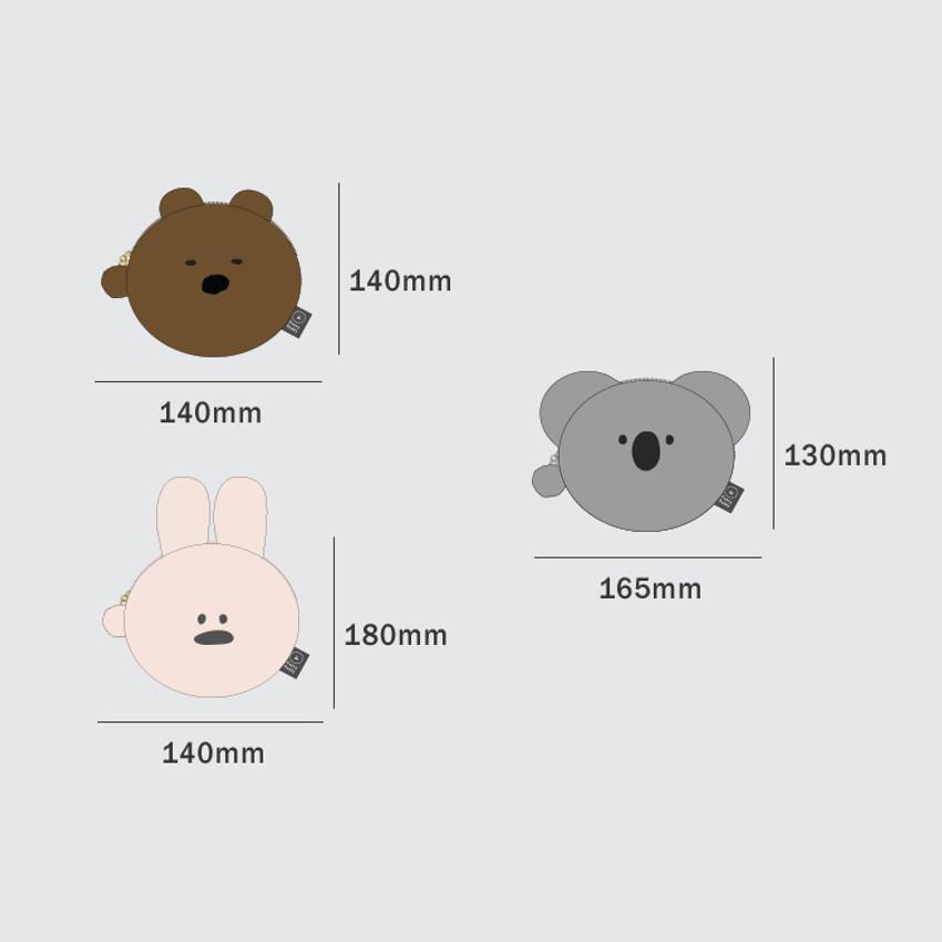 Size of Iconic Furry buddy flat zipper pouch